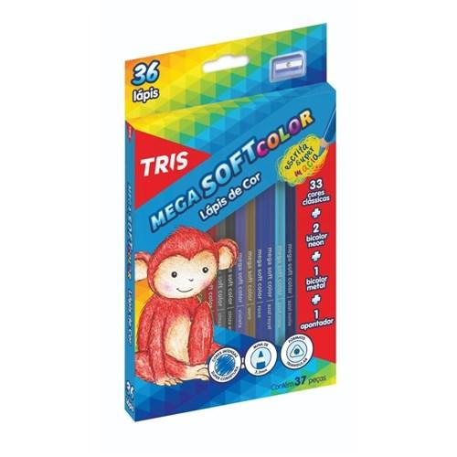 Lapis de Cor 36 Cores Tris Mega Soft Color + Apontador (Tris)