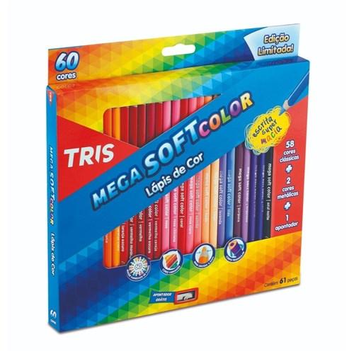 Lapis de Cor 60 Cores Tris Mega Soft Color + Apontador (Tris)