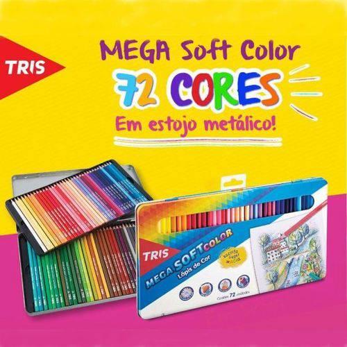 Lápis de Cor Tris Mega Soft Color 72 Cores Estojo Metálico