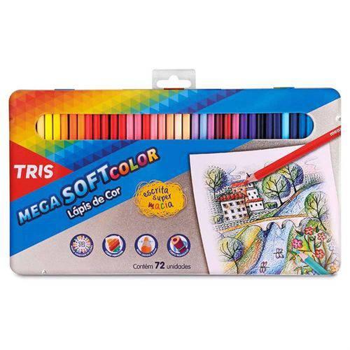Lápis de Cor 72 Cores Tris Mega Soft Color Estojo Metálico