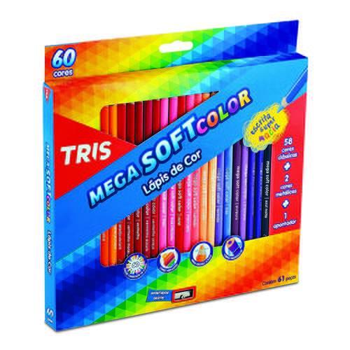 Lápis de Cor Escolar 60 Cores + Apontador