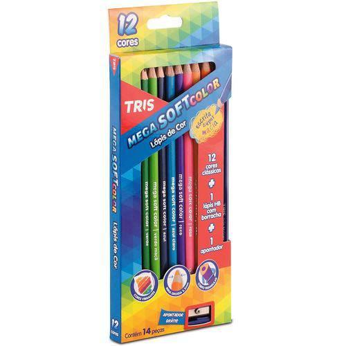 Lápis de Cor Mega Soft Color 12 Cores + Apontador + 1 Lápis Grafite Tris
