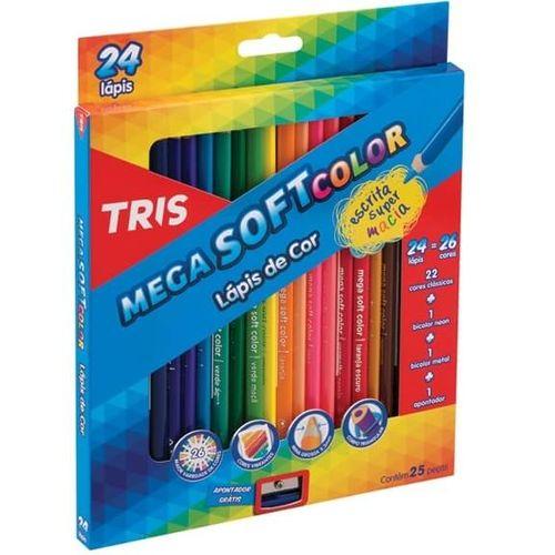Lápis de Cor Mega Soft Color 24 Cores + Apontador Tris