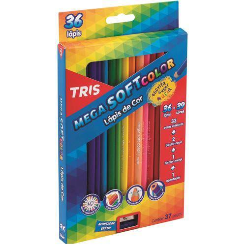 Lápis de Cor Mega Soft Color 36 Cores + Apontador Tris