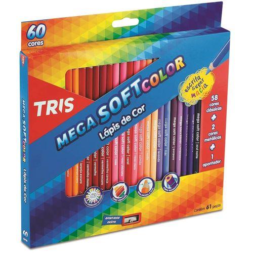 Lápis de Cor Mega Soft Color 60 Cores + Apontador Tris
