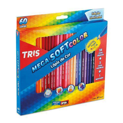 Lápis de Cor Mega Soft Color 60 Cores com 2 Metálicas e 1 Apontador Tris