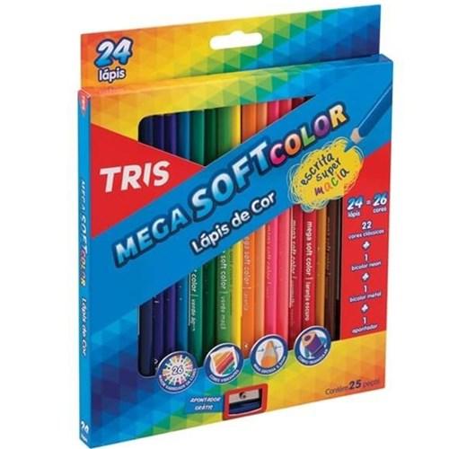 Lápis de Cor Mega Soft Color com 24 Cores + Apontador Tris