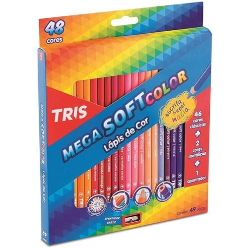 Lápis de Cor Mega Soft Color com 48 Cores + Apontador Tris