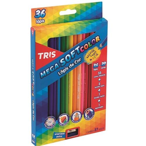 Lápis de Cor Mega Soft Color com 36 Cores + Apontador Tris