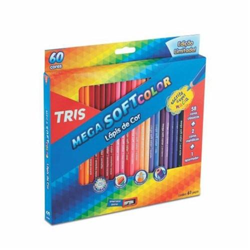 Lápis de Cor Mega Soft Color com 60 Cores + Apontador Tris