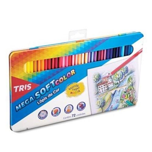 Lápis de Cor Mega Soft Color Estojo Metal com 72 Cores Tris