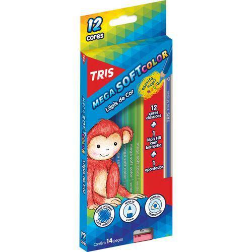 Lapis de Cor Sextavado Mega Soft Color 12cores
