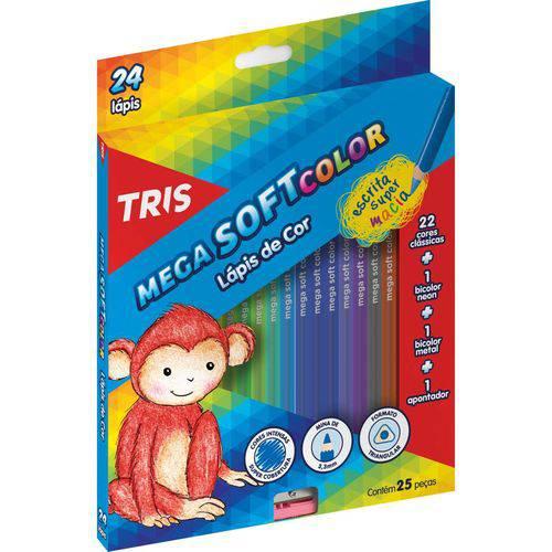 Lapis de Cor Sextavado Mega Soft Color 24cores