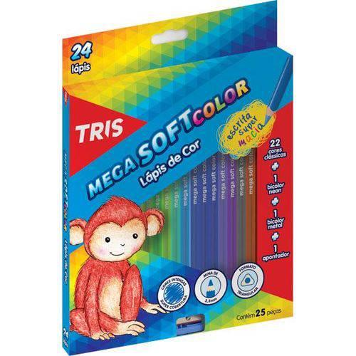 Lápis de Cor Triangular 24 Cores 1 Apontador Mega Soft Color Tris