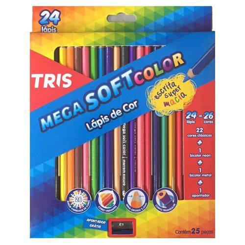 Lápis de Cor Triangular 24 Cores Mega Soft Tris + 1 Apontador Simples