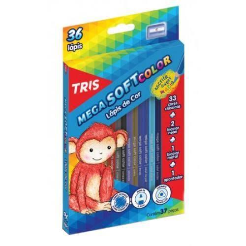 Lápis de Cor Triangular 36 Cores 1 Apontador Mega Soft