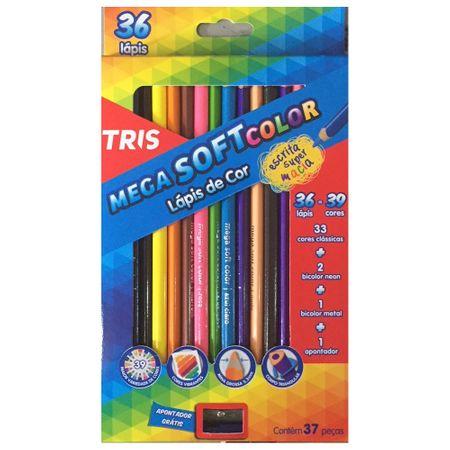 Lápis de Cor Triangular 36 Cores Mega Soft Tris + 1 Apontador Simples