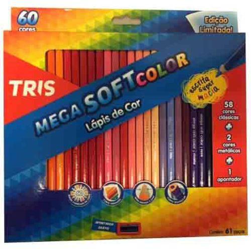 Lápis de Cor Triangular 60 Cores 1 Apontador Mega Soft