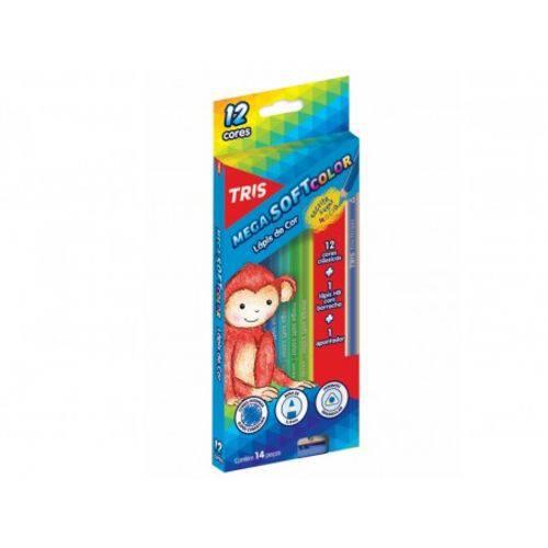 LÁPIS de Cor Tris Mega Soft Color 12 Cores + 1 LÁPIS Preto + 1 Apont