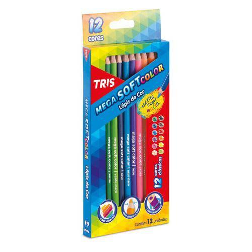 Lápis de Cor Tris Mega Soft Color 12 Cores