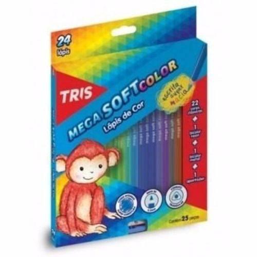 Lápis de Cor Tris Mega Soft Color 24 Cores + 01 Apontador