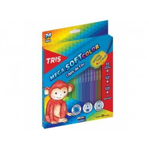 LÁPIS de Cor Tris Mega Soft Color 24 Cores + 1 Apontador Conjunto