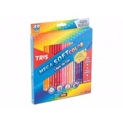 Lápis de Cor Tris Mega Soft Color 48 Cores + 01 Apontador