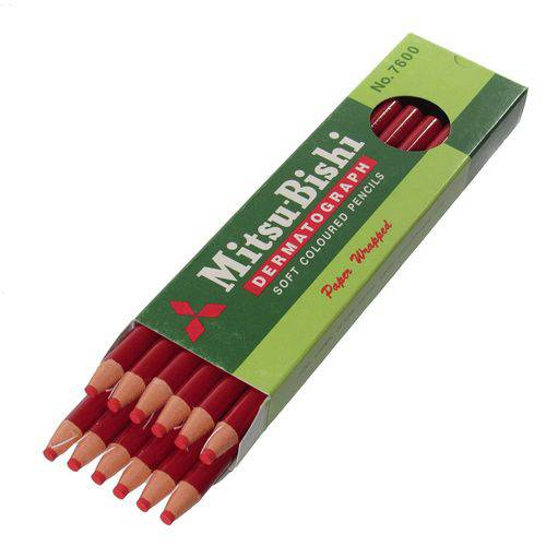 Lápis Dermatográfico Mitsubishi 7600 Vermelho 12 Unidades