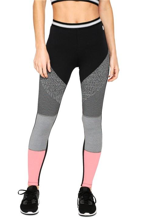 Legging Colcci Fitness Color Block Preta/Cinza/Rosa
