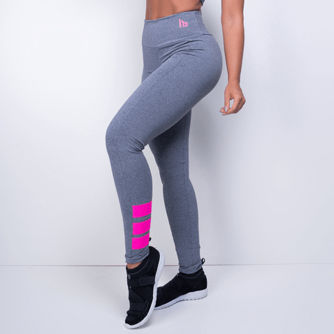Legging Fitness HB Cinza com Neon Rosa LG1130