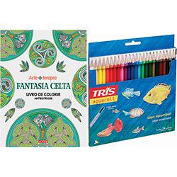 Livro para Colorir Adulto Fantasia Celta + Lápis de Cor Tris Aquarell + Pincel 24 Cores