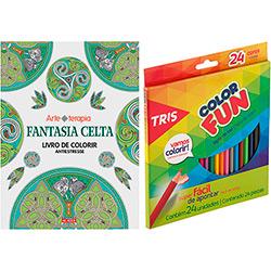 Livro para Colorir Adulto Fantasia Celta + Lápis de Cor Tris Color Fun 24 Cores