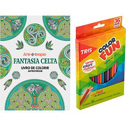 Livro para Colorir Adulto Fantasia Celta + Lápis de Cor Tris Color Fun 36 Cores