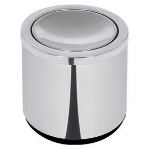Lixeira Cápsula Aço Inox Polida com Base Preta Basculante - 7L