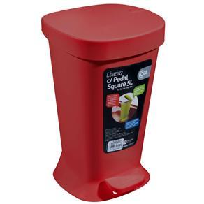 Lixeira com Pedal Square 5 Litros - Coza - Vermelha