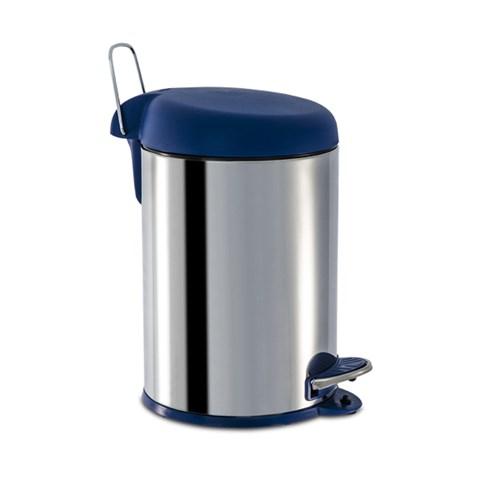 Lixeira de Banheiro Metal Azul 5L Pedal Brinox