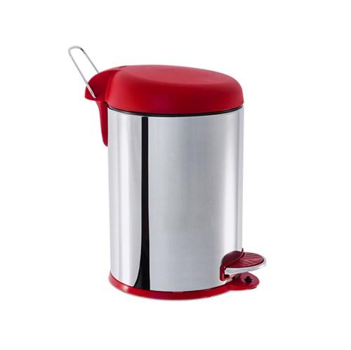 Lixeira de Banheiro Metal Vermelho 5L Pedal Brinox