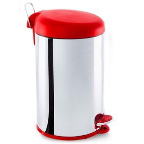 Lixeira em Aço Inox 12 Litros Decorline Tampa Vermelha com Pedal - Brinox