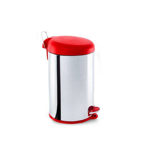 Lixeira Inox C/pedal 12l -tampa Vermelha