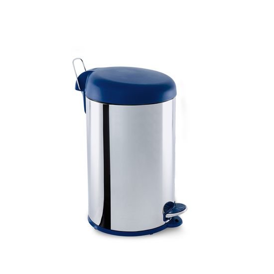 Lixeira Inox com Pedal 12l Tampa Azul