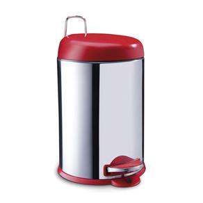 Lixeira Inox com Pedal 5L Tampa Vermelha Vermelho Brinox - Vermelho