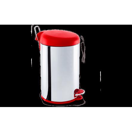Lixeira Inox com Pedal e Tampa Plástica 12 Litros - Decorline Lixeiras Ø 25 X 43 Cm 12 L Vermelho Brinox