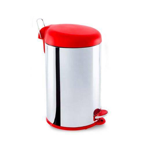 Lixeira Inox com Pedal e Tampa Plastica 12 Litros Vermelha - Brinox