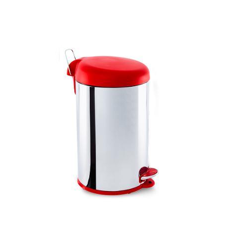 Lixeira Inox com Pedal e Tampa Plastica 12litros Vermelho - Decorline Lixeiras Ø 25 X 43 Cm 12 L