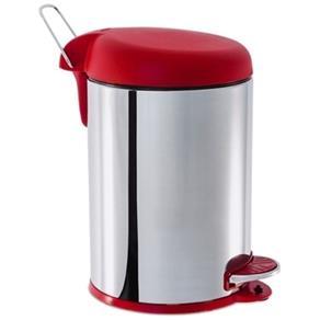 Lixeira Inox com Pedal e Tampa Plastica 5 L Ø 20 X 31 Cm - Vermelho