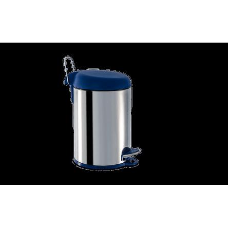 Lixeira Inox com Pedal e Tampa Plástica 5 Litros - Decorline Lixeiras Ø 20 X 31 Cm Azul Brinox