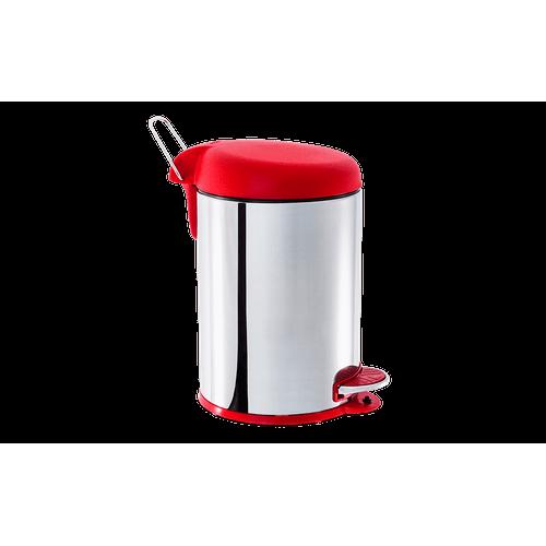 Lixeira Inox com Pedal e Tampa Plástica 5 Litros - Decorline Lixeiras Ø 20 X 31 Cm Vermelho