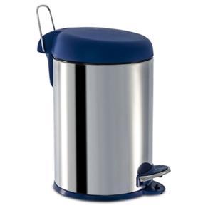 Lixeira Inox com Pedal e Tampa Plástica 5 Litros Ø 20 X 31 Cm - Azul