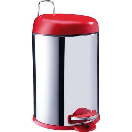Lixeira Inox Tampa Vermelha com Pedal Brinox 5L