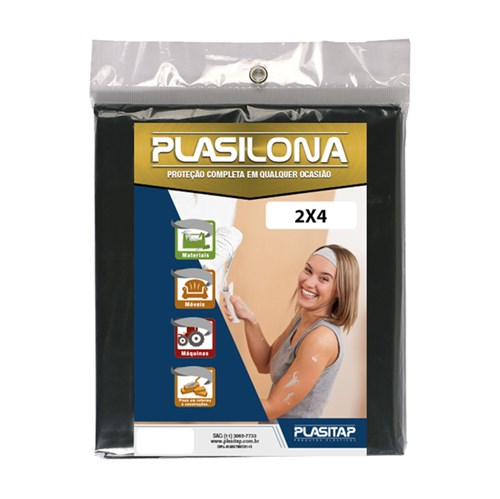 Lona Plástica 2x4m Preta Plasitap